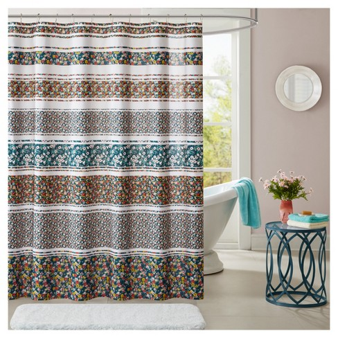 Kiera Floral Microfiber Printed Shower Curtain Teal - image 1 of 1