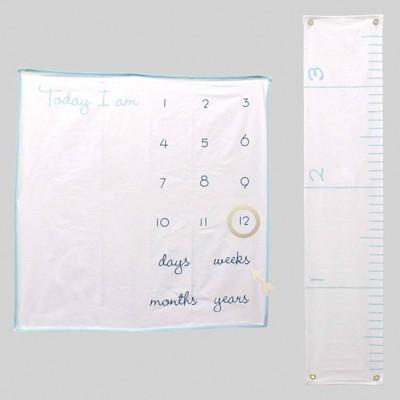 2pc Milestone Blanket & Growth Chart Blue - Bullseye's Playground™