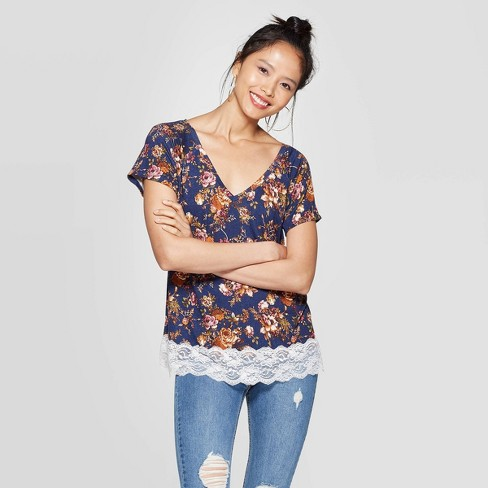 Women's Floral Print Short Sleeve V-Neck Lace Trim T-Shirt - Xhilaration™ Navy - image 1 of 2