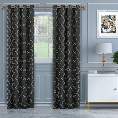 Thermal Insulated Trellis Blackout 2-Piece Curtain Panel Set with Stainless Grommet Header - Blue Nile Mills