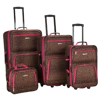 Rockland Safari 4pc Rolling Luggage Set - Pink Leopard