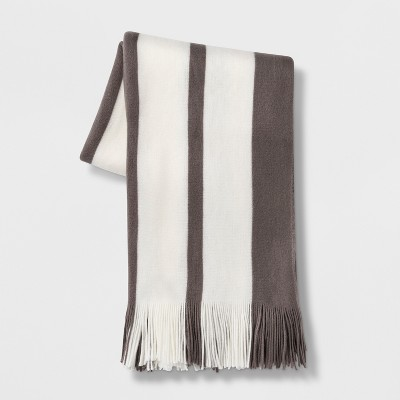 Cozy Stripe Throw Blanket Gray/Cream - Threshold™