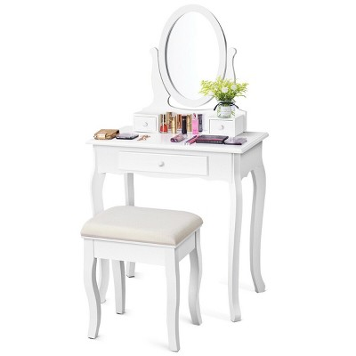 Costway White Vanity Table Jewelry Makeup Desk Bench Dresser Stool 3 Drawers
