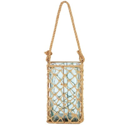 """A & B Home 9.5"""" Decorative Teal Glass and Jute Square Pillar Candle Holder with Handle"""