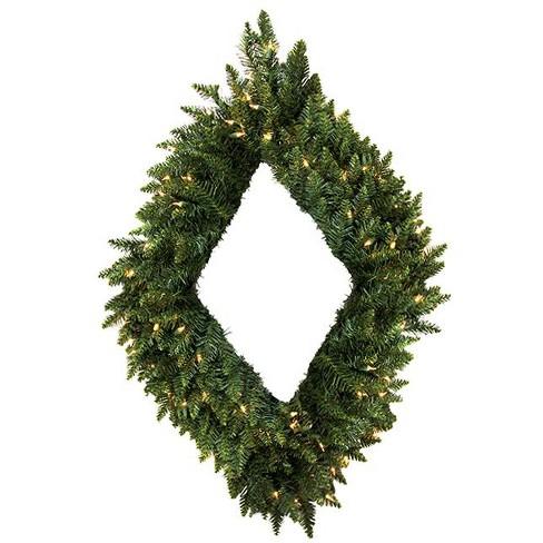 "Vickerman 42"" Prelit Camdon Fir Diamond Shaped Artificial Christmas Wreath - Clear Lights - image 1 of 3"