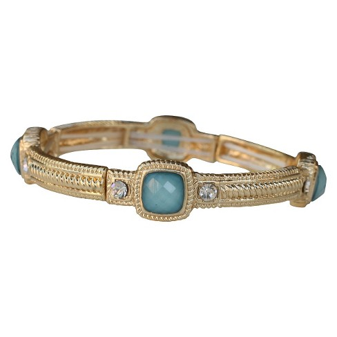 Zirconite Stretch Bangle with Faceted Square Stones - Gold + Turquoise - image 1 of 1