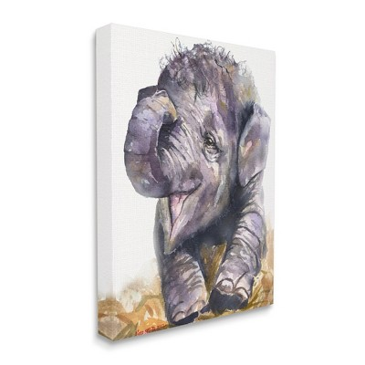 Stupell Industries Baby Elephant Yawning Adorable Safari Animal Portrait