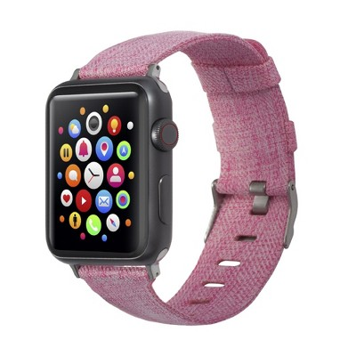 Insten Canvas Woven Fabric Band for Apple Watch 38mm 40mm All Series SE 6 5 4 3 2 1, For Women Girls Replacement Strap, Rose Red
