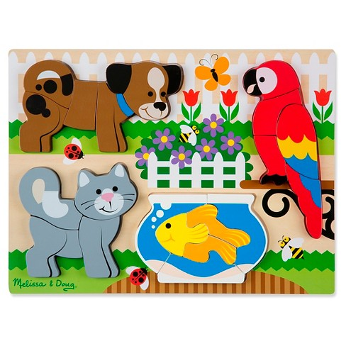 Melissa & Doug® Pets Wooden Chunky Jigsaw Puzzle - Dog, Cat, Bird, and Fish (20pc) - image 1 of 3