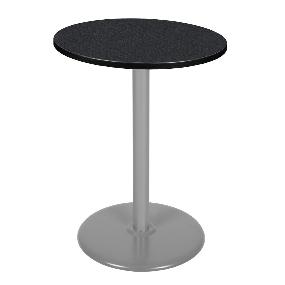 """Image of """"30"""""""" Via Cafe High Round Platter Base Table Carbon/Gray - Regency, Silver"""""""
