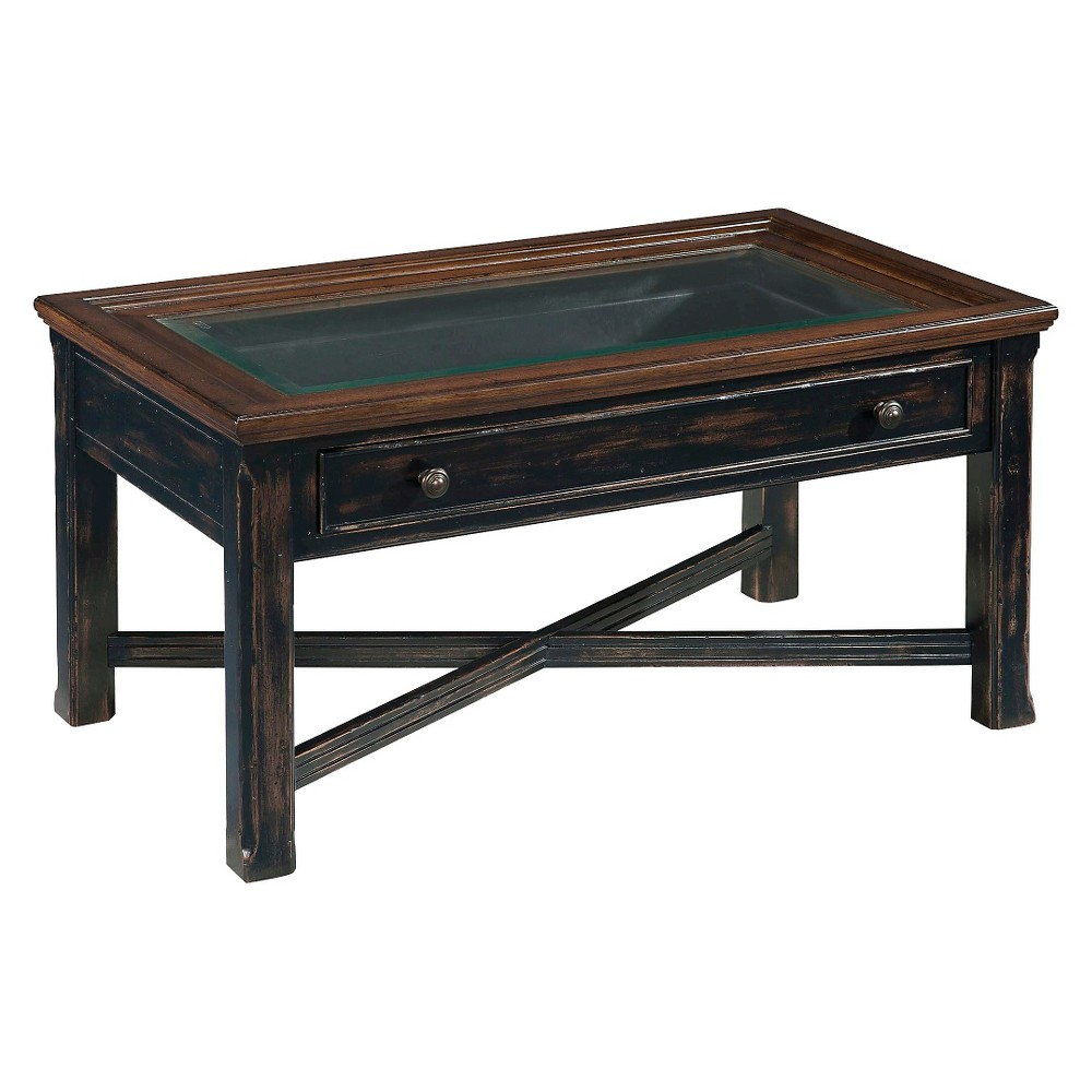 Clanton Wood Small Rectangular Cocktail Table - Antique Black with Natural Brown - Magnussen Home, Black/Brown
