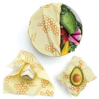Bee's Wrap 3pk Reusable Beeswax Food Wraps Sustainable Plastic Free - 1 Small 1 Medium 1 Large Yellow