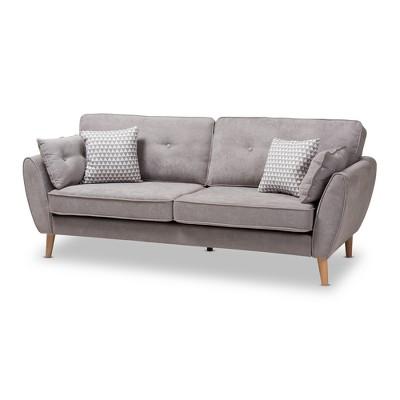 Miranda Mid-Century Modern Fabric Upholstered Sofa - Baxton Studio