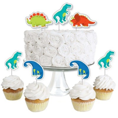 Big Dot of Happiness Roar Dinosaur - Dessert Cupcake Toppers - Dino Mite T-Rex Baby Shower or Birthday Party Clear Treat Picks - Set of 24