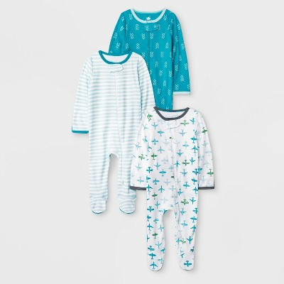 Baby Boys' 3pk Co-pilot Footed Sleeper - Cloud Island™ 0-3M