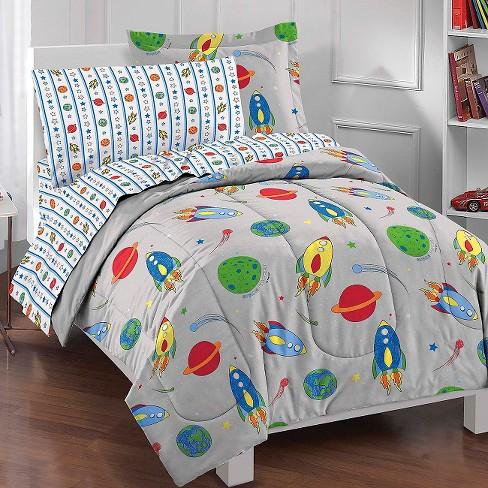 Dream Factory E Rocket Mini Bed In A Bag Gray Twin