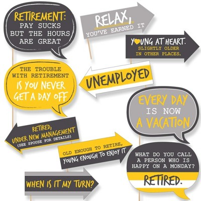 Big Dot of Happiness Funny Retirement - Party Photo Booth Props Kit - 10 Piece