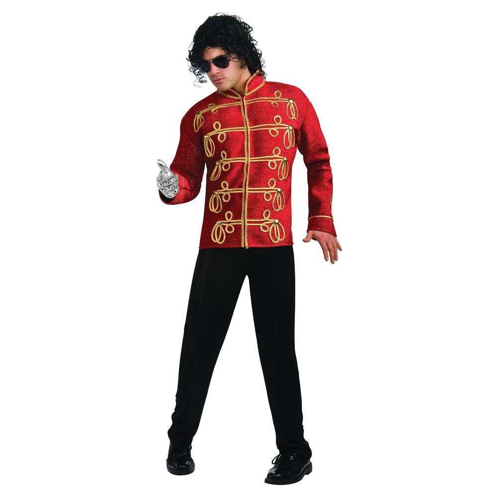Men's Michael Jackson Military Jacket Costume Large, Red/Gold