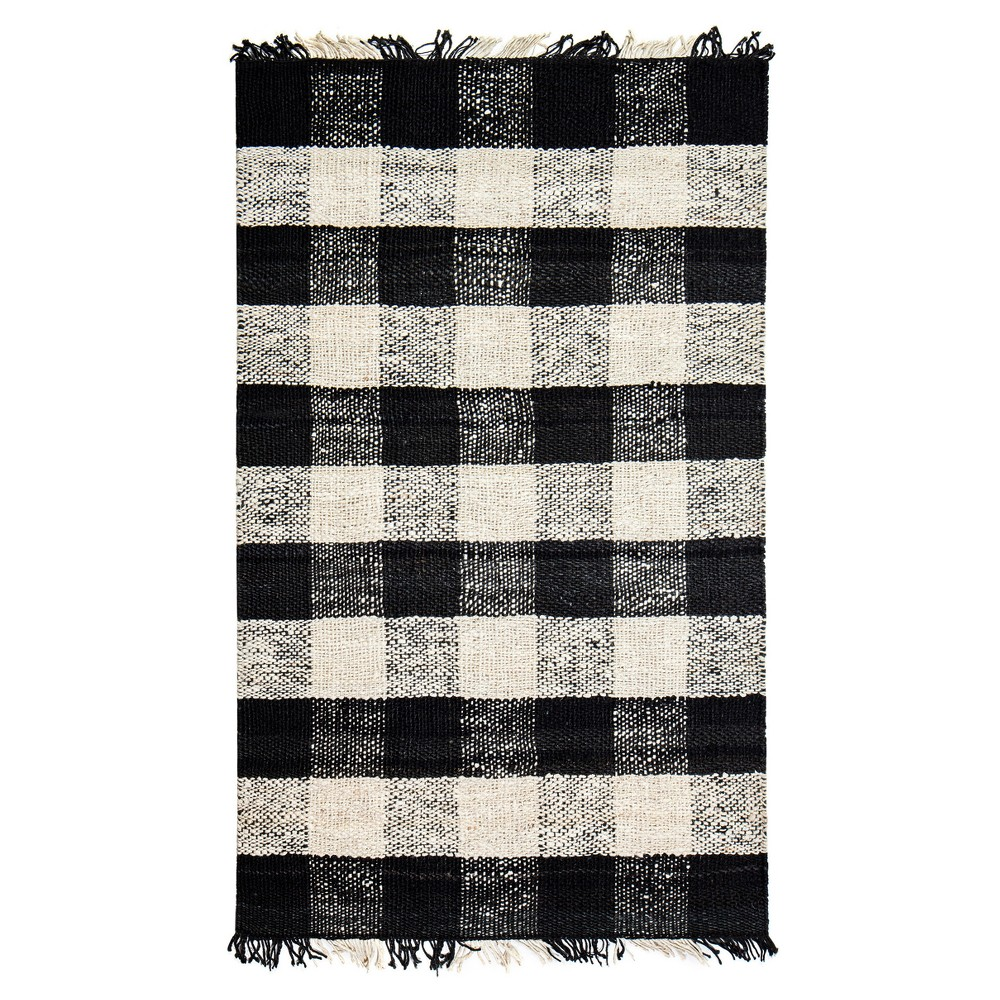 Black Check Loomed Accent Rug 4'X6' - Anji Mountain