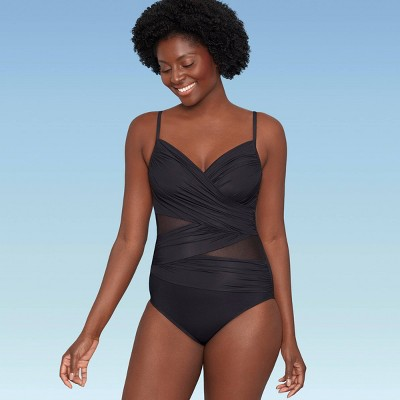 Women's Slimming Control Mesh Inset Cross Front One Piece Swimsuit - Dreamsuit by Miracle Brands Black