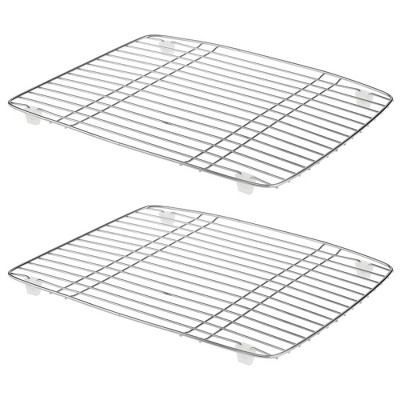 mDesign Modern Metal Kitchen Sink Dish Drying Rack / Mat