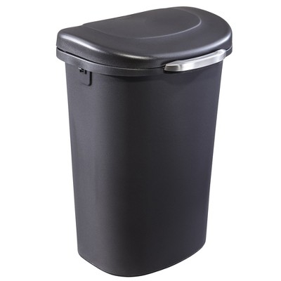 Rubbermaid 1843027 Touch Top 13 Gallon Plastic Wastebasket Trash Can or Recycling Bin w/ Spring Open Lid & Liner Lock, Black