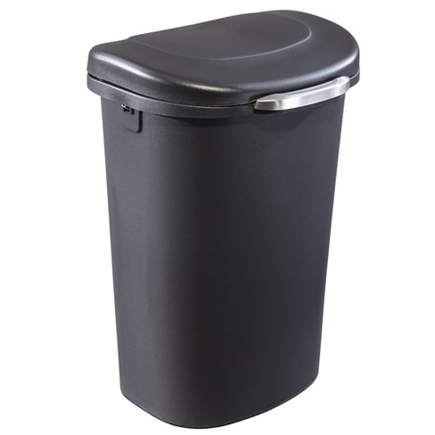 Rubbermaid Touch Top 13 Gallon Plastic Wastebasket Trash Can w/ Lid & Liner  Lock