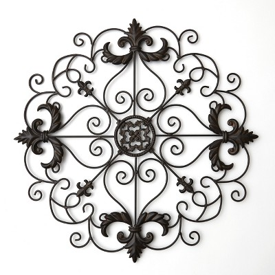 Lakeside Metal Wall Art Medallion with Ornate Accent Pattern