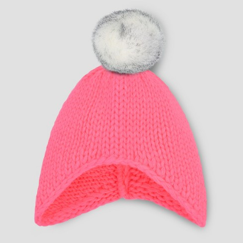 Toddler Girls' Beanie with Faux Fur Pom - Cat & Jack™ Pink 2T-5T - image 1 of 1