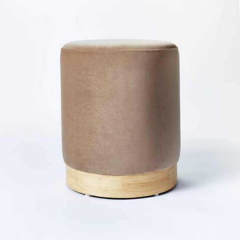 Midvale Velvet And Wood Drum Ottoman Brown Threshold Designed With Studio Mcgee Target