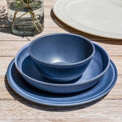 25oz Melamine and Bamboo Cereal Bowl Dark Blue - Threshold™