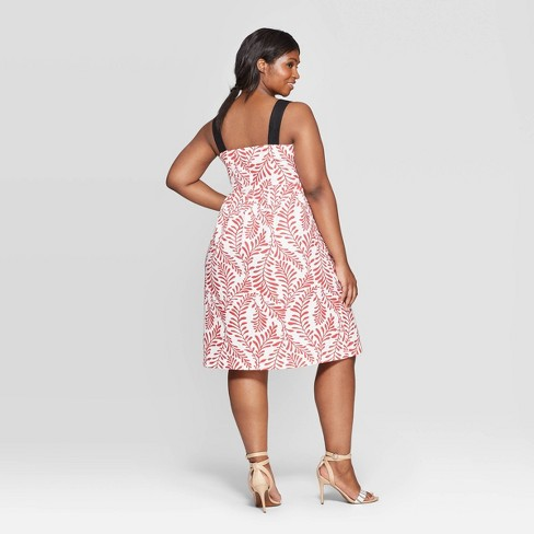 20bc671938b Women s Plus Size Leaf Print Off the Shoulder Contrast Strap Midi Dress -  Who What Wear™ Red White