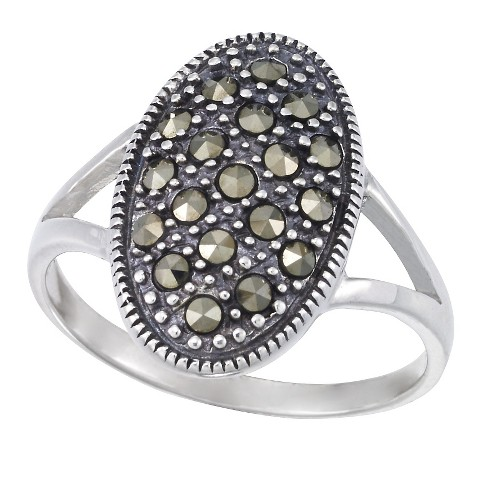 Marcasite Oval Ring-Sterling Silver - image 1 of 1