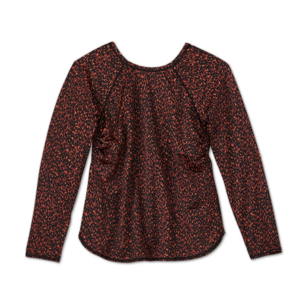 Womens Plus Size Long Sleeve Crew Neck Rash Guard - All in Motion Rust Animal Print 14W Red