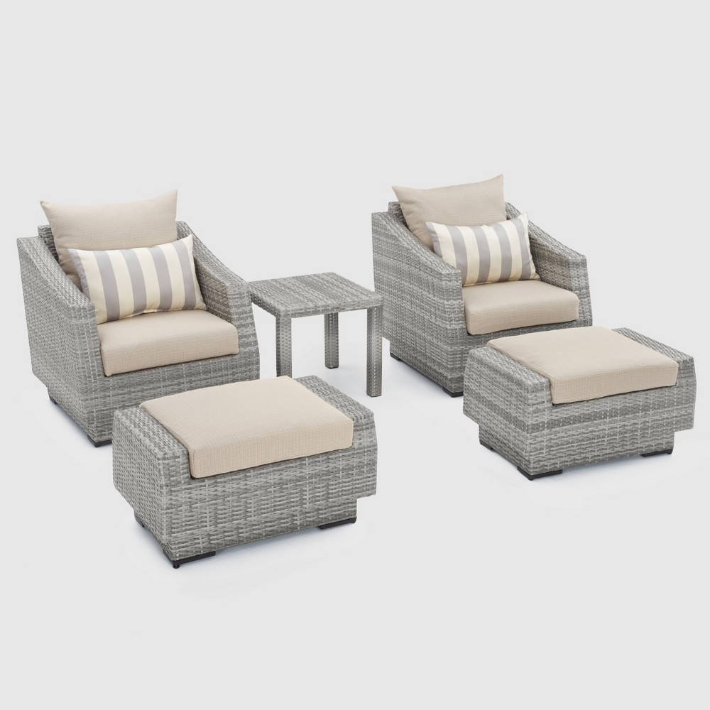 Cannes 5pc Club Chair and Ottoman Set with Cushions - Slate Gray - Rst Brands