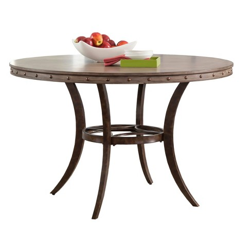 Emmons Round Wood & Metal Dining Table - Washed Gray - Hillsdale Furniture - image 1 of 2