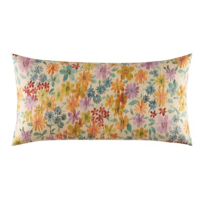 """15""""x30"""" Izi Raffia Floral Throw Pillow"""