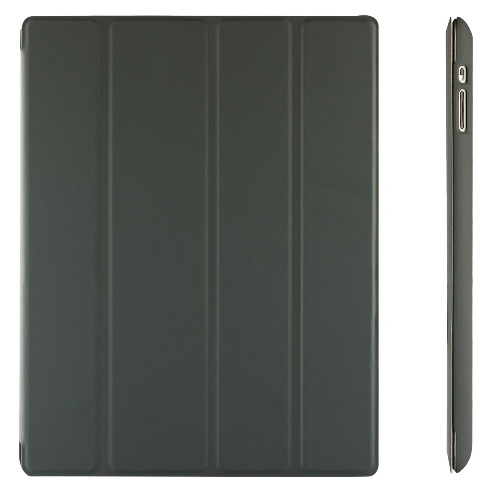 SuprJETech Gold Slim-Fit Folio Smart Case Cover with Back Case for Apple iPad 2, 3 and 4 with Retina Display - Dark Gray