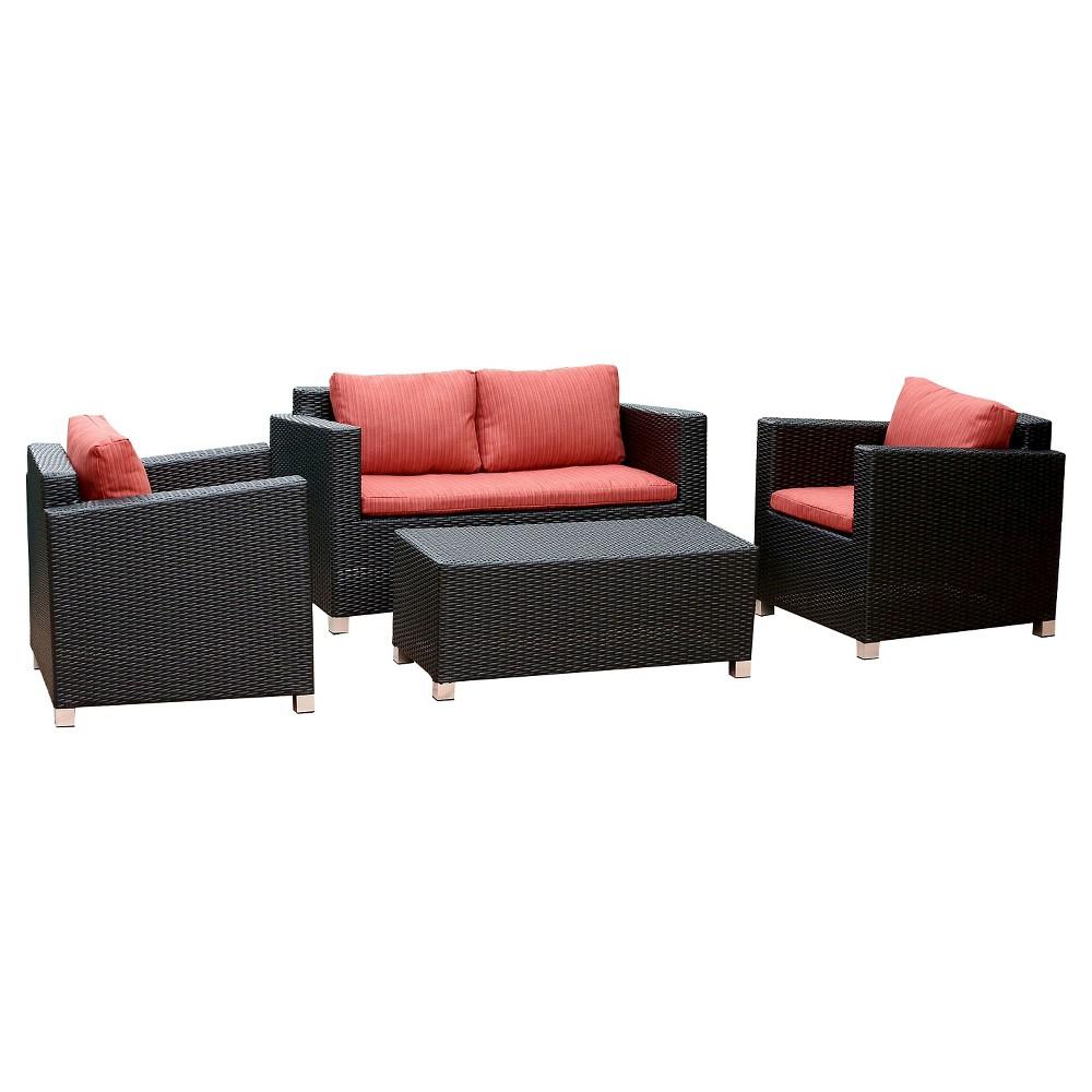4pc Cameron Wicker Outdoor Sofa Set Black - Abbyson Living