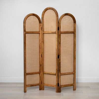 "68"" x 48"" 3-Fold Wooden Screen Room Divider Brown - Opalhouse™"
