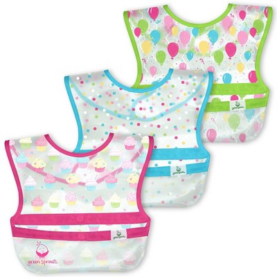 green sprouts Snap & Go Wipe-Off Bibs Cupcakes 9-18 Months Pink - 3pk