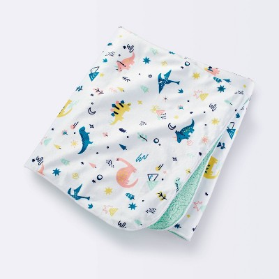 Plush Velboa Baby Blanket Dino Warm - Cloud Island™ White/Pink