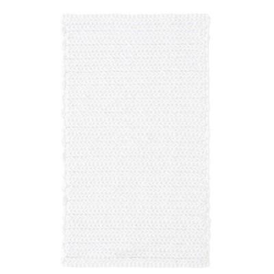 24 x40  Braide Cotton Chenille Chain Stitch Rug White