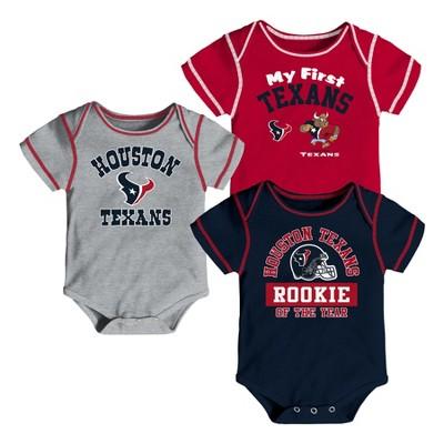 Houston Texans Boys' Newest Fan 3pk Bodysuit Set 6-9M