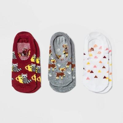 Women's Raccoon and Deer 3pk Liner Socks - Xhilaration™ Maroon/White/Gray 4-10