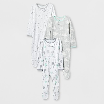 Baby Boys' In the Clouds 3pk Zip Sleep 'N Play - Cloud Island™ White Newborn