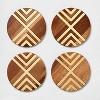Set of 4 Coasters Natural Acacia with Gold Metal - Threshold™ - image 3 of 3