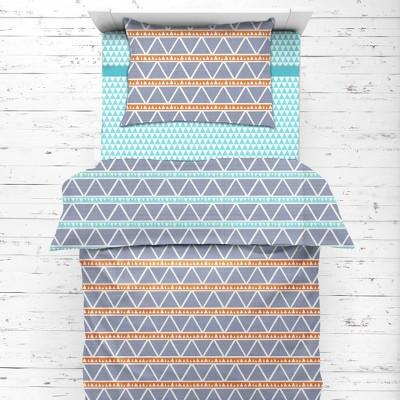 Bacati - Liam Aqua/Orange/Navy Triangles Muslin 4 pc Toddler Bedding Set
