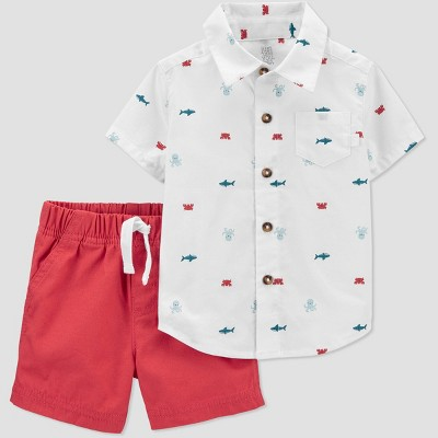Baby Boys' 2pc Sea Creature Top & Bottom Set - Just One You® made by carter's Red Newborn