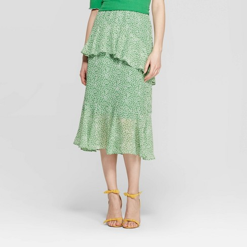 Women's Mid-Rise Tiered Ruffle A Line Skirt - Who What Wear™ Green/White - image 1 of 3